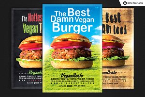 3in1 VEGAN FOOD Flyer Template