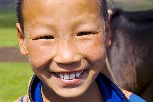 Mongolian Boy With a Beautiful Smile