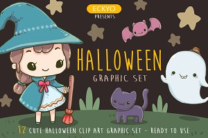 Halloween Cute Clip Art Graphic Set