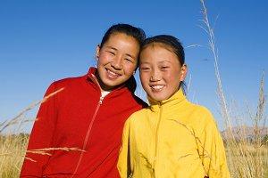 Portrait of Mongolian two sisters