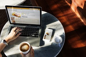 Pastry recipe website on laptop