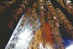 Incense coils in a Chinese temple