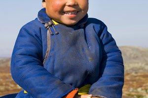 Tsaatan girl with a beautiful smile