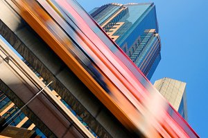 Motion blur of a skytrain