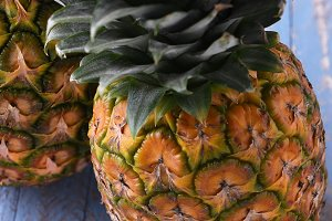Two fresh ripe pineapples
