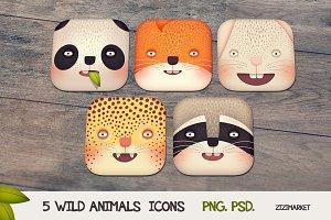 5 Wild Animals iOS App Icons