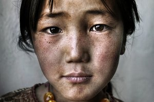 Portrait of a Mongolian girl