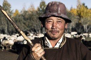 Portrait of Mongolian farmer
