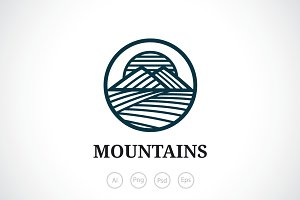 Mountains Lines Logo Template