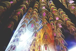 Incense coils burning in Temple