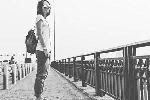 A girl with a skateboard