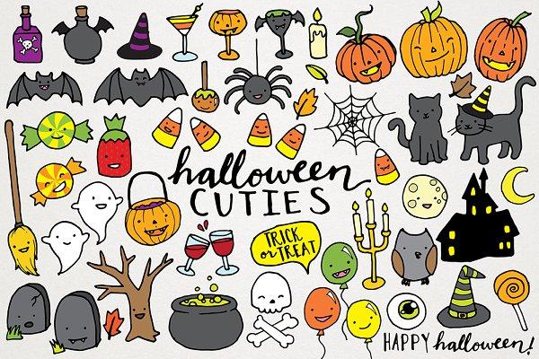 Cute Halloween Clipart Illustrations Pre Designed Illustrator Graphics Creative Market