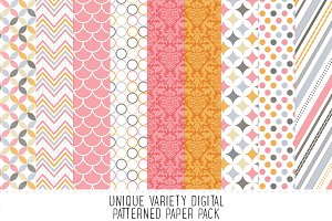 Coral & Pink Digital Pattern Paper