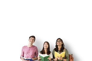 Diverse students with colorful books