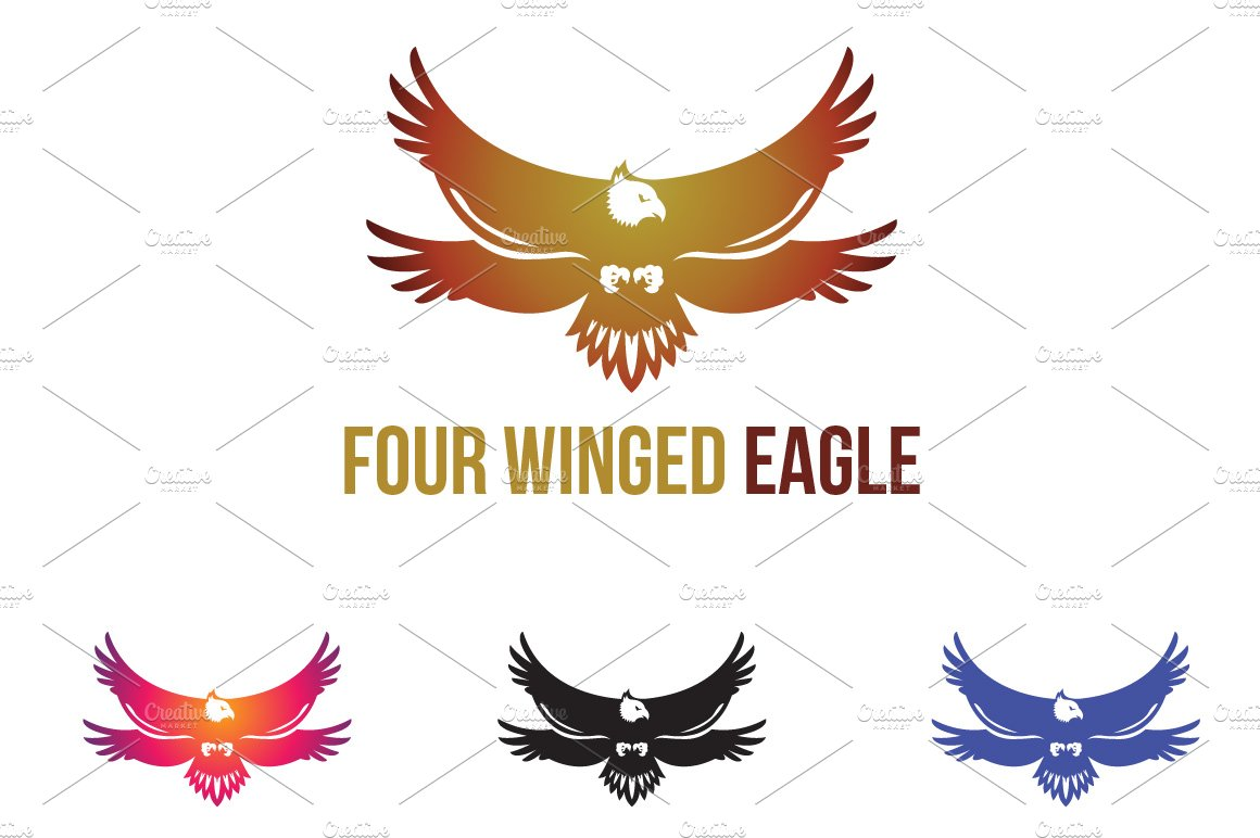 4 simple eagle hawk logo symbol logo templates creative market four winged eagle unique logo symbol biocorpaavc Gallery