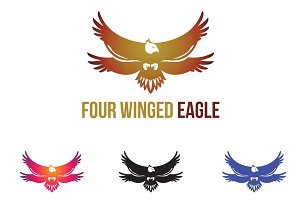 Four Winged Eagle Unique Logo Symbol