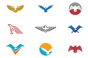 9 Bird and Eagle Logo Symbol