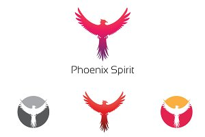 4 Phoenix Wings Flying Logo