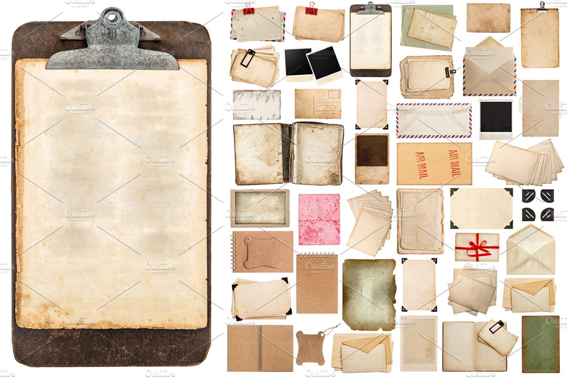 aged paper sheets and clipboard graphic objects creative market