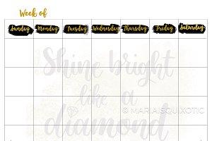 Shine Blank Weekly Planner