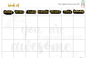 Awesome Blank Weekly Planner
