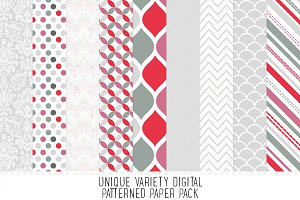 Grey & Mauve Pattern Paper Pack
