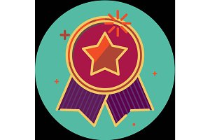Best of badge with ribbon icon award champion label