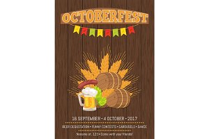 Octoberfest Poster with Barrels, Food and Beer