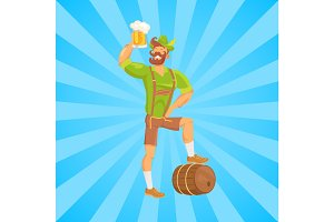 Bearded Man Drinking Beer Vector Illustration