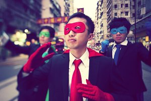Asian business superheroes