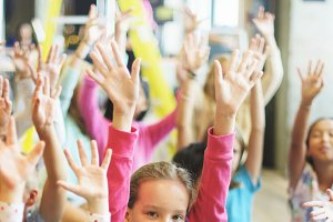 Kids hands up