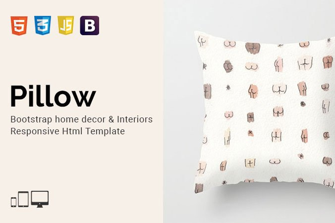 pillow home decor html template bootstrap themes creative market