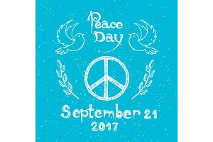 International Peace Day Logo with Hippie Sign Icon