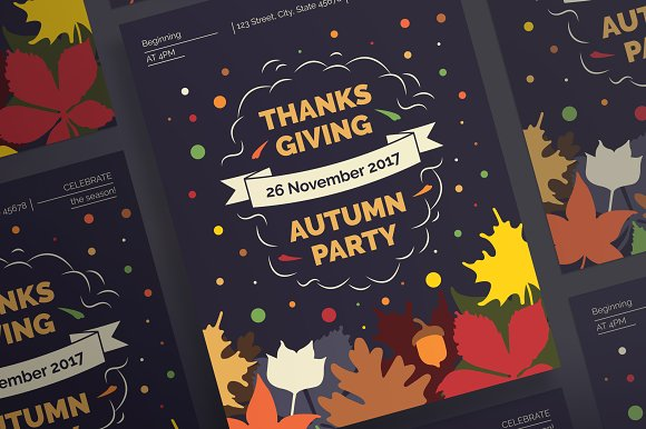 posters thanksgiving party flyer templates creative market