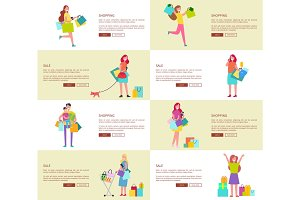Eight Pics of Shopping People Vector Illustration