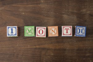 1 month in wooden blocks