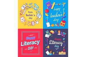 Happy Teachers Day Posters Vector Illustration