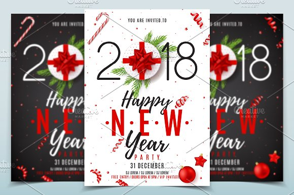 happy new year poster invitation flyers