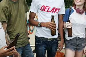 Teens drinking beer