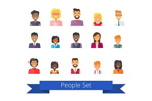 People Set of Icons Vector Illustration on White