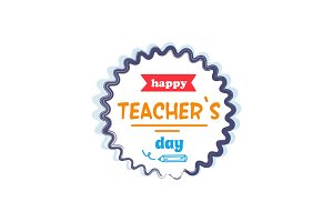 Happy Teachers Day Vector Illustration Orange Rays