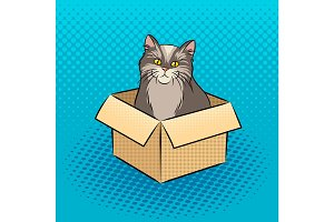Cat in box pop art vector illustration