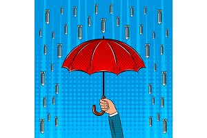 Bomb rain and umbrella pop art vector illustration