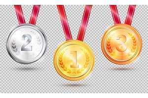 Three Medals Vector Illustration on Transparent