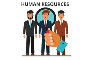 Human resources concept. Recruitment, business career, person search. Hiring. job, staffing. Flat style vector illustration isolated on white background.