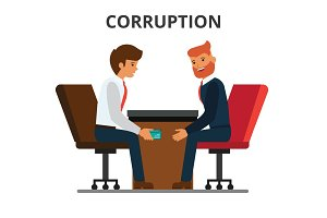 Businessman giving bribe money. Corruption, bribery. venality, kickback. Corrupted bureaucracy. Flat style vector illustration isolated on white background.