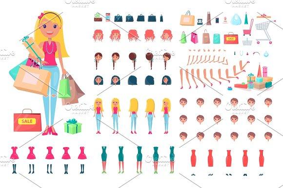 Cheerful Woman On Shopping Spree Illustration