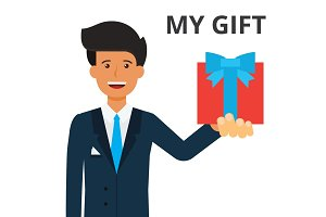 Handsome businessman holding gift box in hand. Present, prize, corporate client. sales, loyality system. Flat style vector illustration isolated on white background.