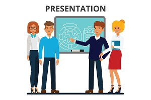 Business presentation. Businessmen and businesswomen meeting. Presentating of the project. Company colleagues. Flat style vector illustration isolated on white background.