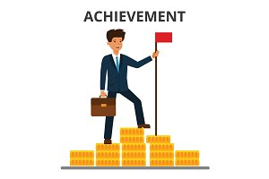 Business achievement. Finance goal, financial target. Businessman achieved flag on the top of money mountain.